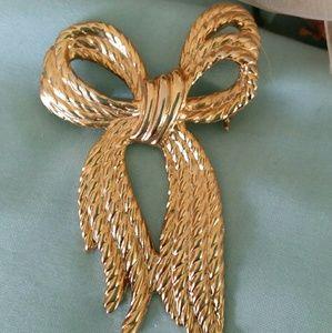 Gold-toned Ribbon Brooch